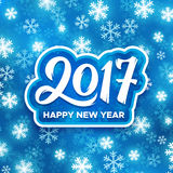 Happy New Year 2017 festive illustration. Happy New Year 2017 greeting card with bright glowing snowflakes on blue background. Vector design with typography for Stock Image
