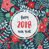 Happy new 2018 year festive square background, greeting card or postcard template decorated with elegant holly leaves. Berries and other green and red holiday Royalty Free Stock Photos