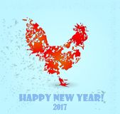 Happy New Year. New Year 2017. Year of fiery cock. Image with a rooster on a light background Stock Photos