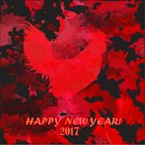 Happy New Year.  of fiery rooster. New Year 2017. Year of fiery cock. Image with a rooster on a bright background Royalty Free Stock Photos