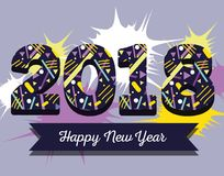 Happy new year figures backgrund design. Vector illustration Royalty Free Stock Photos