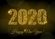 Happy New Year 2020. The figures from a floral ornament with golden glitter and sparks on a dark background with bokeh.