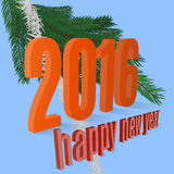 Happy new year. 2016  figures inscription fir-tree blue background Royalty Free Stock Photos