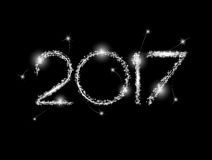 Happy New Year 2017. The figures with silver glitter Royalty Free Stock Photos