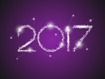 Happy New Year 2017. The figures with silver glitter Royalty Free Stock Image