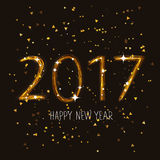 2017. Happy New Year. Figures 2017. Happy New Year. The trend calligraphy. Illustration on the background of Chen. Great holiday gift card. Beautiful fireworks Stock Photography