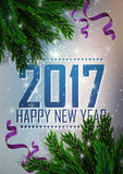 Happy New Year. A fir-tree branch on it is violet  blue background, with the shining stars. Christmas and   greeting. Happy New Year. A fir-tree branch on it is Stock Photos