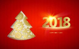 Happy new year fir tree. Happy new year card with fir tree made from gears over red background. Vector illustration royalty free illustration