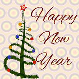 Happy New Year. Fir-tree with toys Royalty Free Stock Image