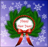 Happy new year and fir wreath with red bow Stock Photos