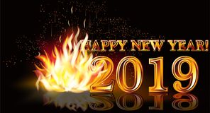 Happy New 2019 Year fire background, vector. Illustration vector illustration