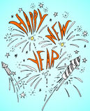 Happy New Year Fire Cracker Rocket. Hand drawn doodle style, traditional festive elements and decorations, yellow background Royalty Free Stock Image