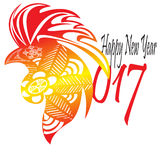 Happy new year 2017 fire rooster. Shio with dominant red color and batik pattern Royalty Free Stock Image