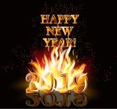 Happy New 2019 Year fire wallpaper. Vector illustration stock illustration