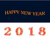 Happy new year 2018 fire on white and dark blue backgrouns plain clean vector illustration. Computer graphic design Royalty Free Stock Images