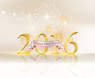 Happy new year and fire work gold background.  Stock Photos