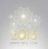 Happy new year and fire work silver background.  Stock Photos