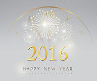 Happy new year and fire work silver with clock background.  Stock Images