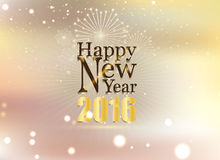 Happy new year and fire work soft gold background Stock Photos