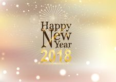Happy new year and fire work soft gold background.  Royalty Free Stock Photography