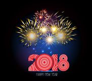 Happy New Year 2018 Firework.  Royalty Free Stock Photos