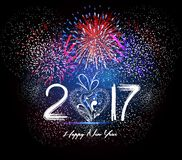 Happy New Year 2017 Firework Stock Photography