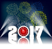 Happy new year 2017 with Firework.  Stock Photo