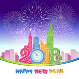 Happy new year 2018 with Firework background.  Stock Photos