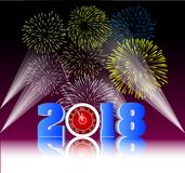 Happy new year 2018 with Firework background.  Royalty Free Stock Photos