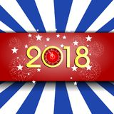 Happy new year 2018 with Firework background.  Stock Images