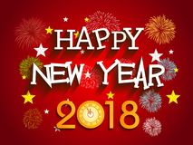 Happy new year 2018 with Firework background.  Royalty Free Stock Image
