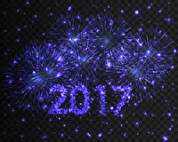 Happy New Year 2017 firework background. Greeting card with particle. Vector illustration. Happy New Year 2017 blue firework background. Greeting card with Stock Photos
