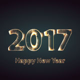 Happy New Year 2017 firework background. Greeting card with particle. Vector illustration. Happy New Year 2017 creative greeting card or logo design posters in Stock Image