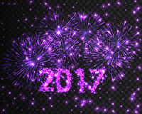 Happy New Year 2017 firework background. Greeting card with particle. Vector illustration. Happy New Year 2017 violet firework background. Greeting card with Royalty Free Stock Photos