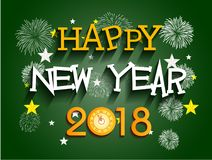 Happy new year 2018 with Firework background.  Stock Image