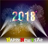 Happy new year 2018 with Firework background.  Royalty Free Stock Images