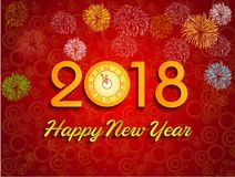 Happy new year 2018 with Firework background.  Stock Photo