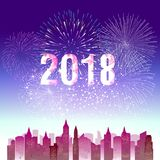 Happy new year 2018 with Firework background.  Royalty Free Stock Photography