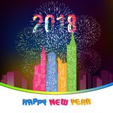 Happy new year 2018 with Firework background.  Royalty Free Stock Photo