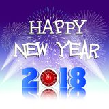 Happy new year 2018 with Firework background.  Stock Photography