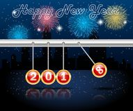 Happy new year 2018 with firework. Background.  illustration Stock Photo