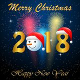 Happy new year 2018 with firework background. Illustration Stock Photos