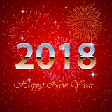 Happy new year 2018 with firework. Background.  illustration Royalty Free Stock Photo