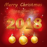 Happy new year 2018 with firework. Background.  illustration Royalty Free Stock Photos