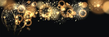 Happy New Year with firework background. Party background with firework and clock Royalty Free Stock Photos