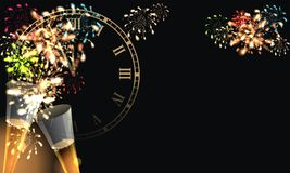 Happy New Year with firework background. Party background with firework and clock Royalty Free Stock Photo
