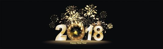 Happy New Year with firework background. Party background with firework and clock Stock Photos