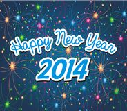 Happy new year 2014 with firework background. Suitable for new year celebrations Stock Photo