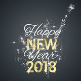 2018 Happy New Year firework black background vector. Greeting card Royalty Free Stock Photography