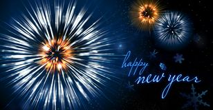 Free Happy New Year Firework Blue And Gold Royalty Free Stock Image - 165752136